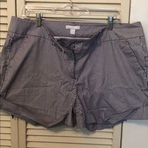 New York and Company Shorts Blue/White Striped.